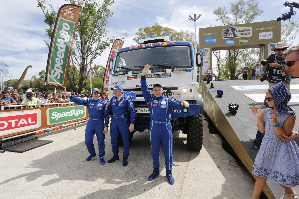 502 NIKOLAEV EDUARD YAKOVLEV EVGENY RYBAKOV VLADIMIR (rus) KAMAZ action during the Dakar 2016 Argentina Bolivia, Start Podium / Podium de Départ Buenos Aires, Prologue from January 2, 2016 at Buenos Aires, Argentina - Photo Gregory Lenormand / DPPI