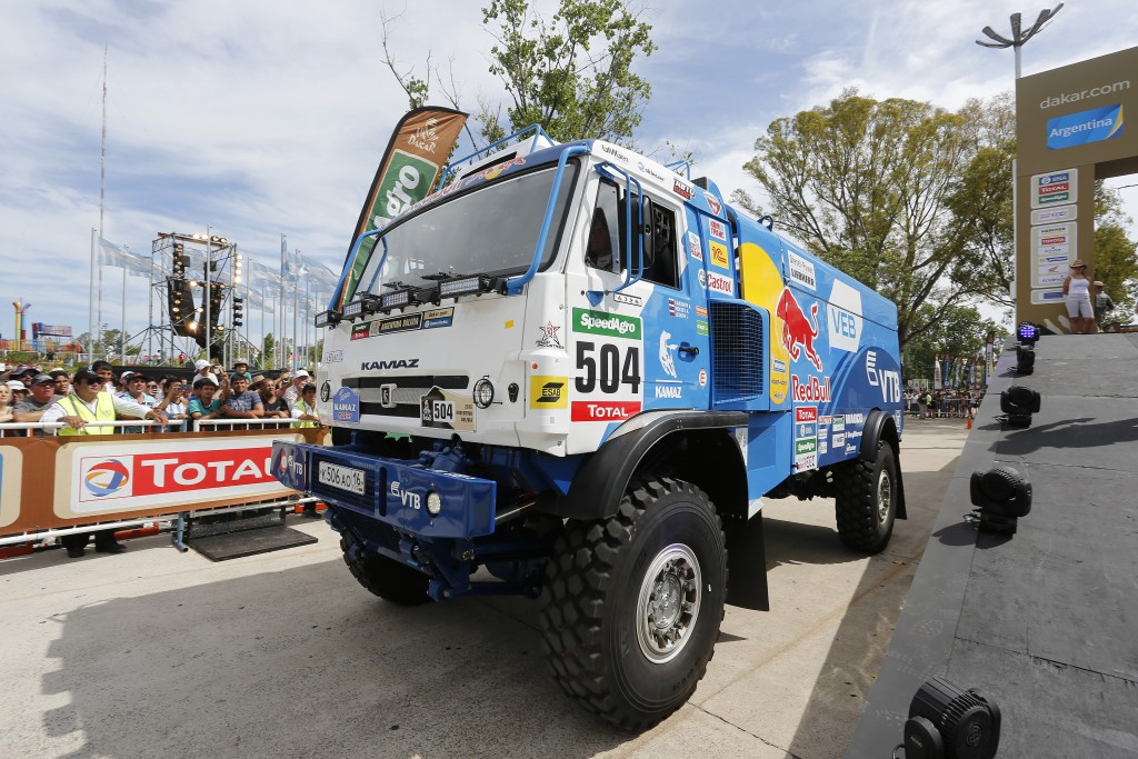 504 KARGINOV ANDREY MOKEEV ANDREY LEONOV IGOR (rus) KAMAZ action during the Dakar 2016 Argentina Bolivia, Start Podium / Podium de Départ Buenos Aires, Prologue from January 2, 2016 at Buenos Aires, Argentina - Photo Gregory Lenormand / DPPI