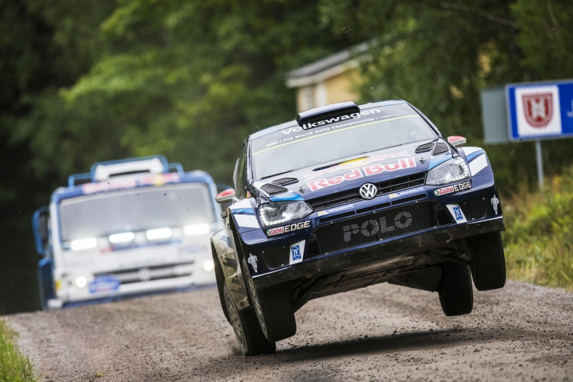 Jari-Matti Latvala (FIN) , Airat Mardeev (RUS) perform during Ouninpohja Jump 2016 in Ounipohja on August 1, 2016