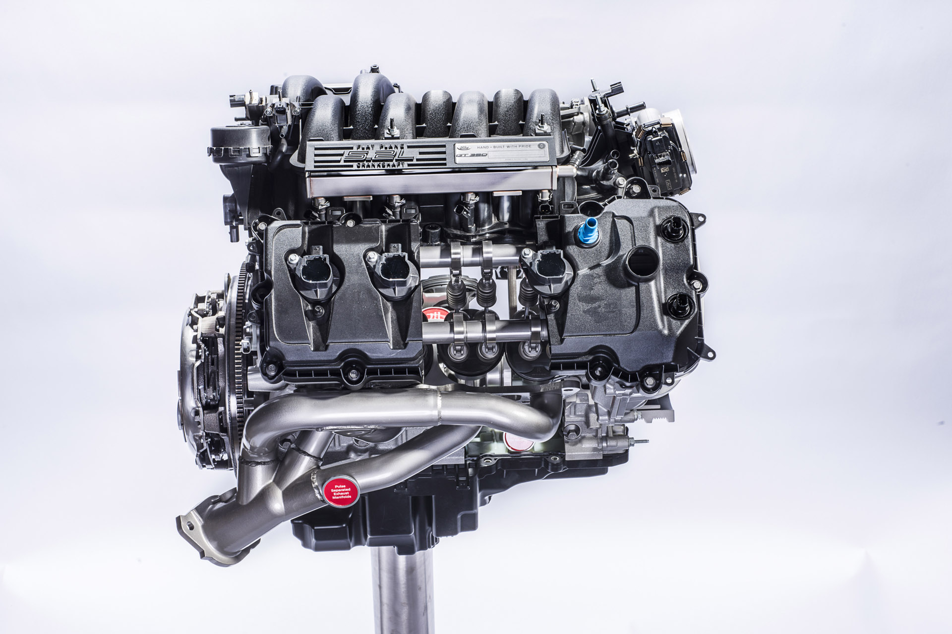 The all-new Ford 5.2-liter flat-plane crankshaft V8 found in the Shelby GT350 and GT350R Mustang will produce 526 horsepower and 429 lb.-ft. of torque. At 102 horsepower per liter, the engine is both the most power-dense and the most powerful naturally aspirated road-going engine in Ford history