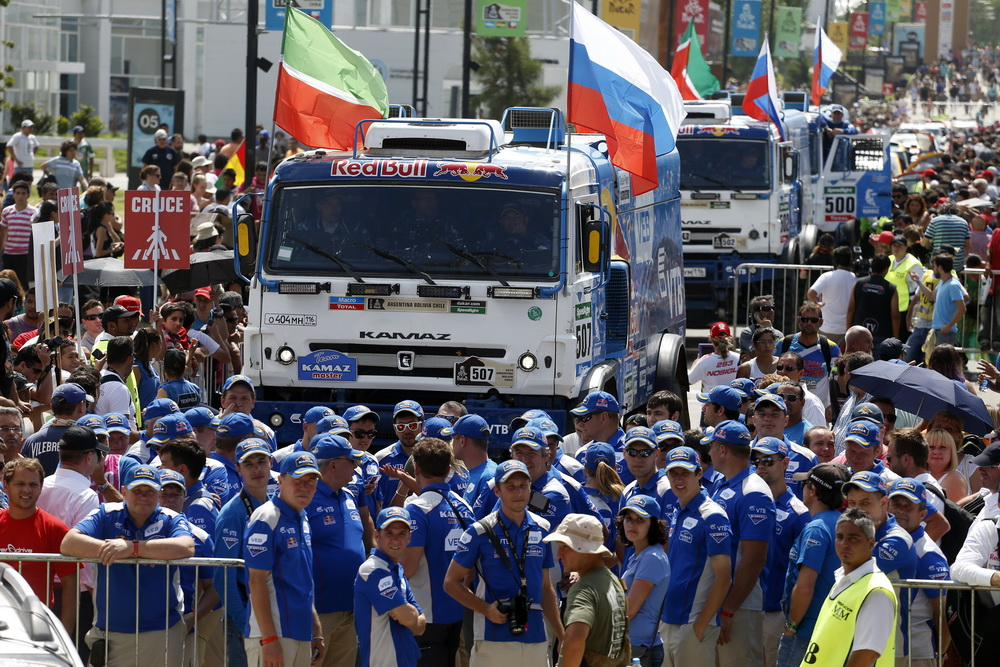 Kamaz Finish Ambiance during the Dakar 2015 Argentina Bolivia Chile, Stage 13 Finish and Podium / Etape 13, Rosario to Buenos Aires on January 17th 2015 at Rosario, Argentina. Photo Francois Flamand / DPPI